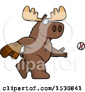 Clipart Of A Cartoon Moose Baseball Pitcher Royalty Free Vector Illustration