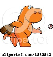 Poster, Art Print Of Cartoon Tyrannosaurus Rex Dinosaur Baseball Pitcher