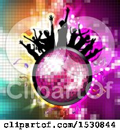 Clipart Of A Pink Disco Ball With Silhouetted People Dancing And Music Notes Over Gradient Royalty Free Vector Illustration