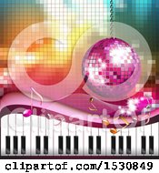 Clipart Of A Pink Disco Ball Suspended Over A Keyboard And Gradient Royalty Free Vector Illustration