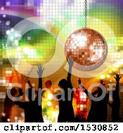 Clipart Of A Disco Ball Suspended Over People Dancing On Gradient Royalty Free Vector Illustration