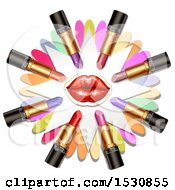 Clipart Of Red Lips With Lipstick Tubes Over Colorful Flower Petals Royalty Free Vector Illustration