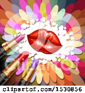 Clipart Of Red Lips With Lipstick Tubes And Hearts Over Colorful Flower Petals Royalty Free Vector Illustration