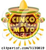 Mexican Sombrero Hat Over A Cinco De Mayo Design With Maracas