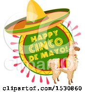 Mexican Sombrero Hat Over A Cinco De Mayo Design With A Llama