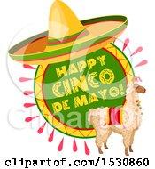 Mexican Sombrero Hat Over A Cinco De Mayo Design With A Llama