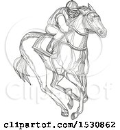 Clipart Of A Sketched Jockey Racing A Horse Royalty Free Vector Illustration