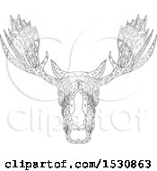 Clipart Of A Zentangle Sketched Bull Moose Head Royalty Free Vector Illustration