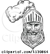 Clipart Of A Sketched Medieval Knight Or Soldier Royalty Free Vector Illustration