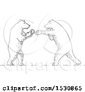 Clipart Of Sketched Boxing Bears In Black And White Royalty Free Vector Illustration