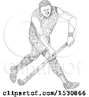 Clipart Of A Sketched Field Hockey Athlete In Action Royalty Free Vector Illustration