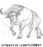 Clipart Of A Sketched Cape Buffalo In Black And White Royalty Free Vector Illustration