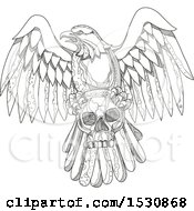 Clipart Of A Sketched Bald Eagle Flying With A Human Skull In Black And White Royalty Free Vector Illustration