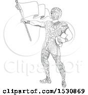 Clipart Of A Sketched American Football Quarterback Holding A Flag Royalty Free Vector Illustration