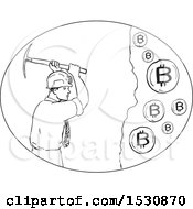 Clipart Of A Sketched Bitcoin Miner Swinging A Pickaxe Royalty Free Vector Illustration by patrimonio