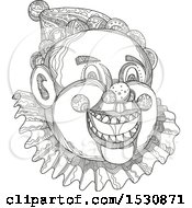 Clipart Of A Sketched Circus Clown Face In Black And White Royalty Free Vector Illustration by patrimonio