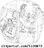 Clipart Of A Sketched Western Scene Of A Cowboy Robber In A Saloon Royalty Free Vector Illustration