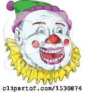 Clipart Of A Sketched Circus Clown Face Royalty Free Vector Illustration