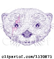 Clipart Of A Sketched Asian Small Clawed Otter Face With A Pink Bolt Around One Eye Royalty Free Vector Illustration by patrimonio
