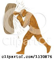 Clipart Of A Sketched Boxer Punching A Bag Royalty Free Vector Illustration