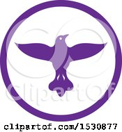 Clipart Of A Flying Purple Dove In A Circle Royalty Free Vector Illustration