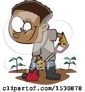 Clipart Of A Cartoon African American Boy Digging In A Garden Royalty Free Vector Illustration