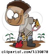 Cartoon African American Boy Digging In A Garden