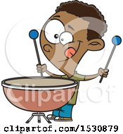 Clipart Of A Cartoon African American Boy Playing A Kettle Drum Royalty Free Vector Illustration