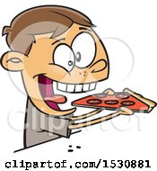 Cartoon Caucasian Boy Enthusiastically Eating Pizza