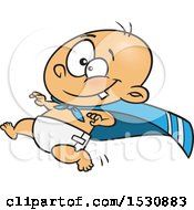 Clipart Of A Cartoon Caucasian Super Baby Running In A Cape Royalty Free Vector Illustration