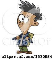Clipart Of A Cartoon Casual Teenage Boy Wearing A Backpack Royalty Free Vector Illustration