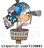 Cartoon Caucasian Boy Pirate Using A Telescope In A Crows Nest