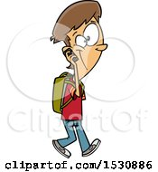 Cartoon Caucasian Teen Boy Walking And Talking On A Cell Phone