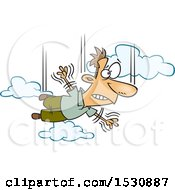 Clipart Of A Cartoon Man Falling And Taking A Leap Of Faith Royalty Free Vector Illustration