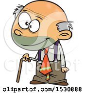 Clipart Of A Cartoon Caucasian Senior Boy Using A Cane Royalty Free Vector Illustration