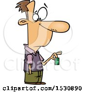 Cartoon Caucasian Man Holding A Devalued Dollar
