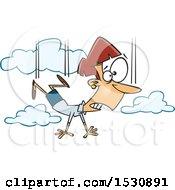 Cartoon Caucasian Woman Falling And Taking A Leap Of Faith
