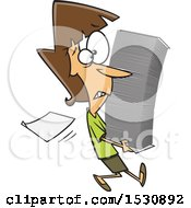 Cartoon Caucasian Woman Carrying A Stack Of Paperwork