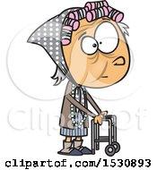 Poster, Art Print Of Cartoon Caucasian Senior Girl Using A Walker