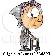 Clipart Of A Cartoon Caucasian Senior Girl Using A Walker Royalty Free Vector Illustration