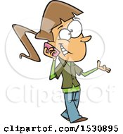 Cartoon Caucasian Teen Girl Walking And Talking On A Cell Phone