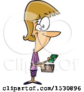 Clipart Of A Cartoon Caucasian Woman Holding Cash From A Wallet Royalty Free Vector Illustration