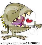 Cartoon Monster Swallowing Hearts