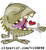 Clipart Of A Cartoon Monster Swallowing Hearts Royalty Free Vector Illustration