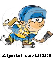 Clipart Of A Cartoon Caucasian Girl Playing Hockey Royalty Free Vector Illustration