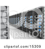 Path Between Walls Of Computer Server Towers Clipart Illustration Image
