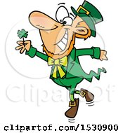 Cartoon St Patricks Day Leprechaun Dancing With A Four Leaf Clover