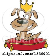 Clipart Of A Cartoon Pampered Dog Wearing A Crown And Sitting On A Pillow Royalty Free Vector Illustration by toonaday