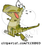Clipart Of A Cartoon Tyrannosaurus Rex Dinosaur Jogging Royalty Free Vector Illustration