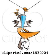 Cartoon Clumsy Bird Hanging Upside Down From A Wire